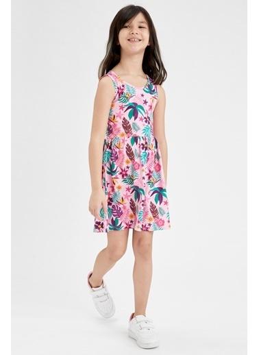 DeFacto Kız Çocuk Palmiye Desenli Kolsuz Elbise Nefti